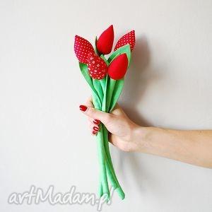 Prezent Bukiet bawełnianych tulipanów, tulipany, bawełniane, szyte, materiałowe