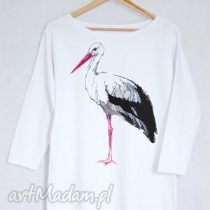 BOCIAN bluzka bawełniana oversize S/M biała, koszulka, bluzka, bocian, nadruk