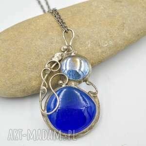 naszyjniki retro blue - naszyjnik w stylu, niebieski, niebieski
