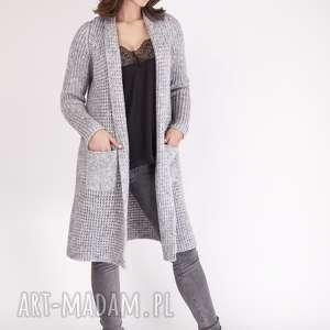 dzianinowy płaszcz, pa003 szary mkm, dzianina, kieszenie, dopracy
