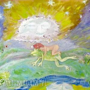 obraz olejny na pomorskich łąkach, folkowy obraz, olejny, pejzaż pomorze