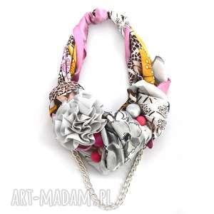 GREY PINK naszyjnik handmade, naszyjnik, kolia, szary, różowy, kolorowy