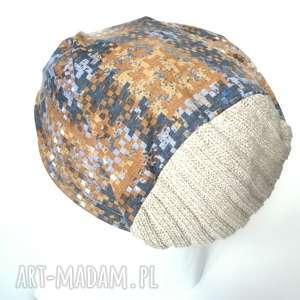 czapka jesienna wzory wełna dzianina damska męska - czapka, etno, dzianina