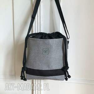 torebka april mini szara z czarnym, torebka, crossbody bag, szary, dla kobiet