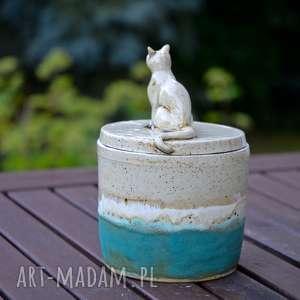 Prezent Pojemnik ceramiczny z figurką kota   na herbatę kawę Yerbę cukierki