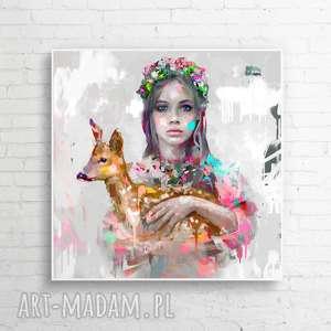obrazy obraz na płótnie i 100x100 cm cnotliwość, dekoracja, folk, obraz, nowoczesny