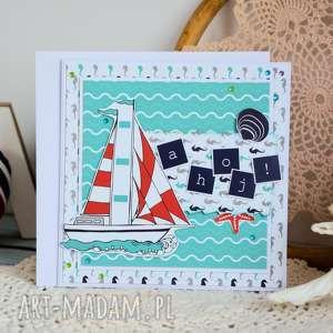 kartka dla żeglarza / podróżnika - ahoj, kartka, żaglówka, ahoj, urodziny