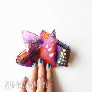 Malowana poszetka - abstrakcyjne kolory muchy i muszki malowany