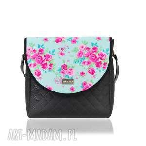 torebka puro 2035 pink and mint flowers, pojemna, zgrabna, mała, kwiaty
