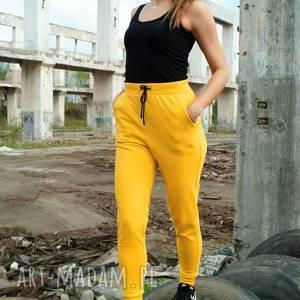 musztardowe spodnie dresowe - mustard sweat, musztardowe, dresowe, wysoka