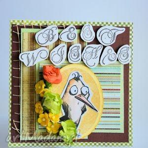 kartka - best wishes, kartka, uniwersalna, życzenia, ptak, mężczyzna, old