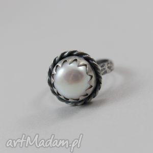 perła w srebrze - pierścionek r 14, perła, srebro, pierścionek, oksydowany