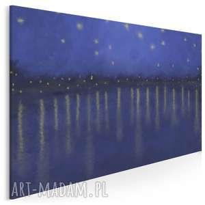 obraz na płótnie - noc pejzaż gwiazdy granatowy 120x80 cm 94301