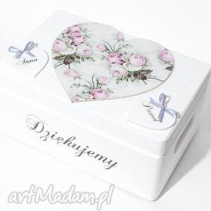 hand-made księgi gości ślubne pudełko na koperty kopertówka personalizowane serce napis dziękujemy