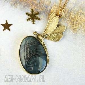 naszyjnik złota ważka z mosiądzu szarym agatem c218, elegancki
