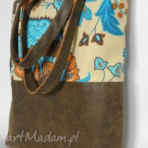 Torba shopper bag - indian summer artmanual torba, skóra, len