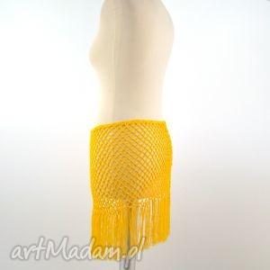 pareo ażurowe żółte z frędzlami, pareo, ażur, chusta, frędzle, wiązanka, lato