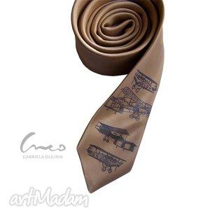 krawat z nadrukiem retro - samoloty, krawat, nadruk, samolot, retro, samoloty