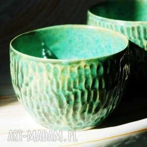 zielona, spatynowana czarka dragons skin, czarka, kubek, do herbaty, kawy