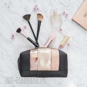 kosmetyczki camilla cosmetic bag black rose gold, kosmetyczka, piórnik, etui