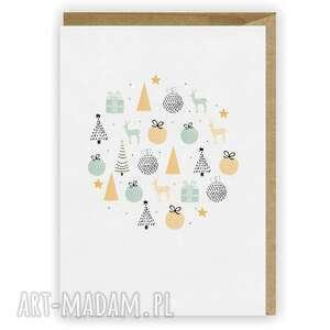 kartka bożonarodzeniowa - bombka cardie, świąteczna