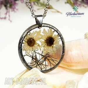 hand-made naszyjniki z1028 naszyjnik z suszonymi kwiatami herbarium, biżuteria z żywicy
