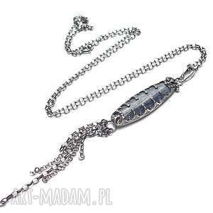 kyanit w koronkach -naszyjnik - srebro, oksydowane, kyanit, metaloplastyka