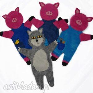 Zestaw filcowych pacynek trzy małe świnki - maskotki