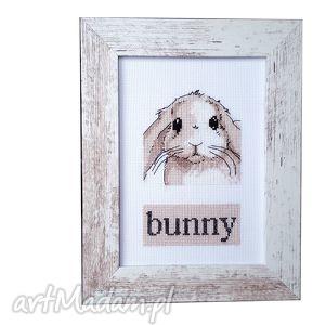 oryginalny prezent, pokoik dziecka bunny, haft, królik, zajączek, obrazek