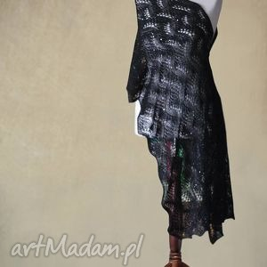 czarny aŻurowy szal - szal, ażurowy, knitwearfactory, dzianina, handmade