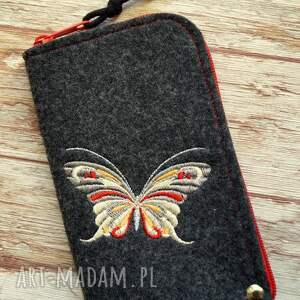Prezent Filcowe etui na telefon - motylek, smartfon, pokrowiec, motyl, ptaszki