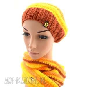 Prezent komplet żółto-pomarańczowo-rudy, komplet, czapka, komin, zimowy, lekki,