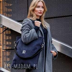 na ramię czarna torba z zamszu ekologicznego, wodoodporna, zamszowa, pojemna