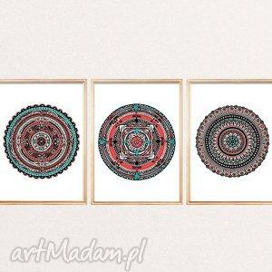 Zestaw 3 mandal A3, mandala, mandale, zestaw, plakat, plakaty, grafika