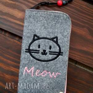 etui filcowe na telefon - meow, smartfon, pokrowiec, futerał, prezent, koci