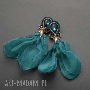 kolczyki sutasz z kwiatkiem, sznurek, wyjściowe, długie, morskie, wiszące