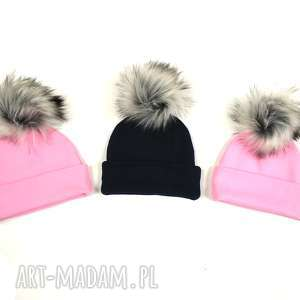 jesienna czapka z pomponem , kolor różowy - jesienna czapka, czapka na jesień
