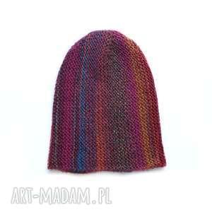 czapka multikolor no 4 - czapka, multikolor, dziergana, kolorowa, wełniana, unisex