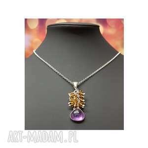 Srebrny naszyjnik z ametystem i kryształkami naszyjniki jegobizu