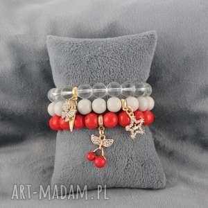 bransoletki zestaw bransoletek z koralików czerwono-beżowy, zestaw