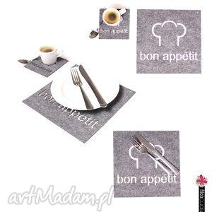 handmade podkładki serwetki filcowe bon appetit - 4 szt