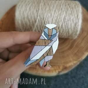 świąteczny prezent, pin sowa geometryczna, sowa, geometryczne, drewno dębowe