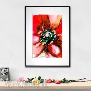 grafika w ramie czerwony kwiat 30x40, podarek, na prezent