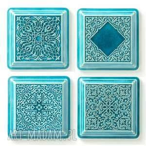 dekory xl cztery ornamenty turkusowe, dekory, kafle, ornament, dekoracja