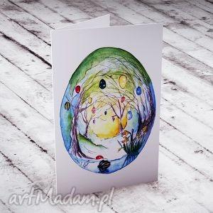 wielkanocna karteczka malowana akwarelą, kartka, wielkanoc, pisanka, awarela