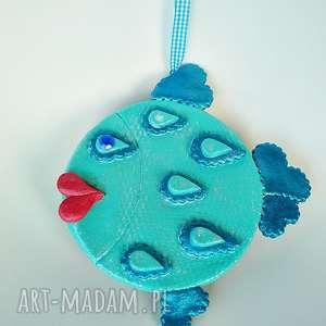 handmade dekoracje miętowo-granatowa rybka z kolekcji weihnachten. Dekoracja ścienna