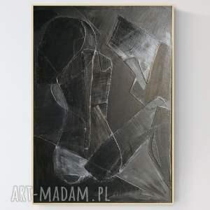 obraz na płótnie z wyjątkową fakturą, duża abstrakcja w ramie, 70 x 100 cm