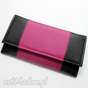 kopertówka - czarna i środek fuksja, elegancka, nowoczesna, wizytowa, wesele