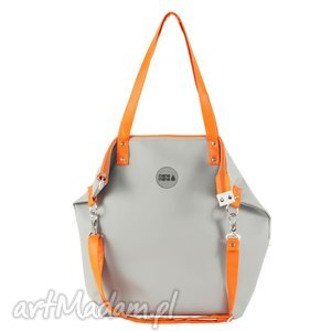 torba worek waterproof orange grey, worek, ecoskóra, manamana, handmade