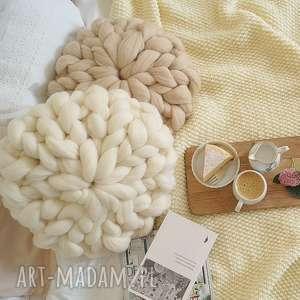 poduszki poduszka czesankowa ecru, czesankowa, poduszka, dekoracyjna, pleciona